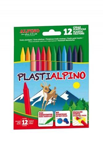 Creioane cerate din plastic, 12 culori/cutie, Plasti ALPINO